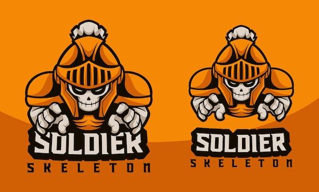 Scheletro del soldato di logo della mascotte dell'illustrazione con lo stile del fumetto di concetto