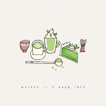 Illustrazione dei prodotti del tè matcha. insieme di tiraggio della mano di tè, caffè e dolci.