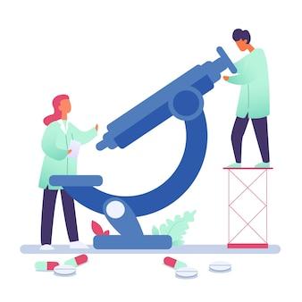Illustrazione di perizia medica, medici che fanno il concetto di virus corona vaccino