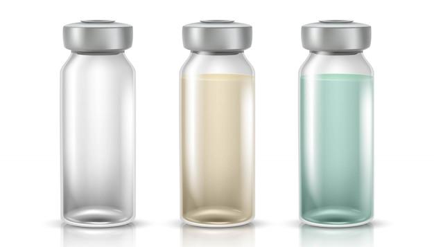 Illustrazione di bottiglie di vetro medicinali per iniezioni o vaccini. isolato
