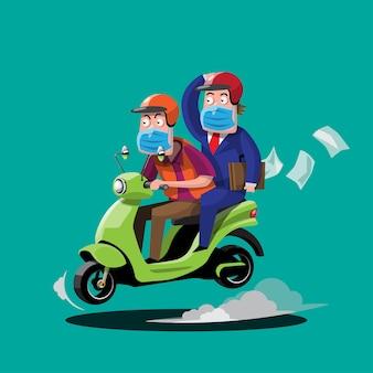 Illustrazione di uomini in sella a una moto che consegnano pizza e cibo