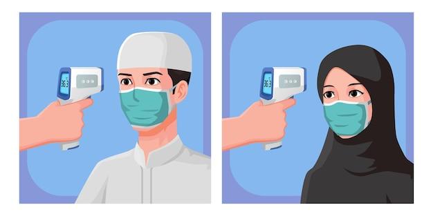 Illustrazione uomini e donne musulmani, controllo della temperatura corporea mediante pistola termica
