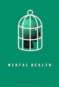 Illustrazione della salute mentale. design minimalista.