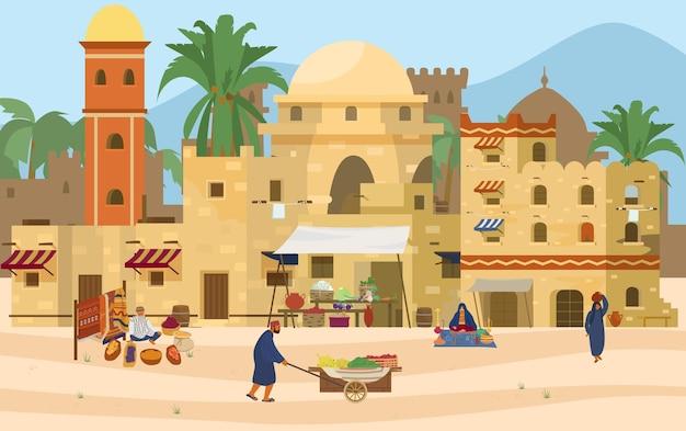 Illustrazione della scena mediorientale. città antica araba con case e persone tradizionali in mattoni di fango.