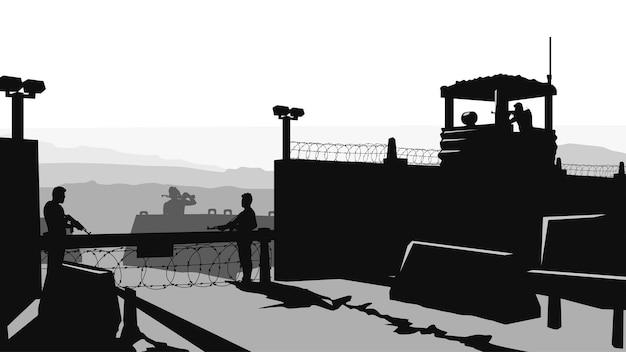 Illustrazione della base militare con soldati in servizio in stile silhouette