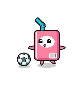 L'illustrazione del cartone animato della scatola del latte sta giocando a calcio, un design in stile carino per maglietta, adesivo, elemento logo Vettore Premium