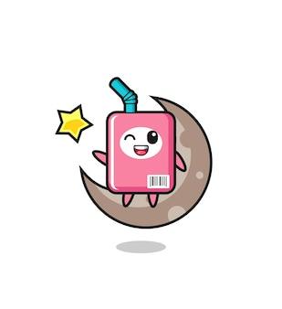Illustrazione del cartone animato della scatola del latte seduto sulla mezza luna, design in stile carino per maglietta, adesivo, elemento logo