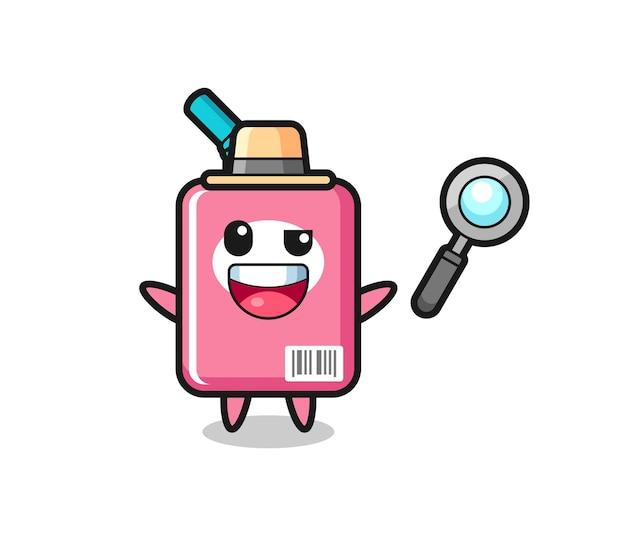 Illustrazione della mascotte della scatola del latte come detective che riesce a risolvere un caso, design in stile carino per maglietta, adesivo, elemento logo