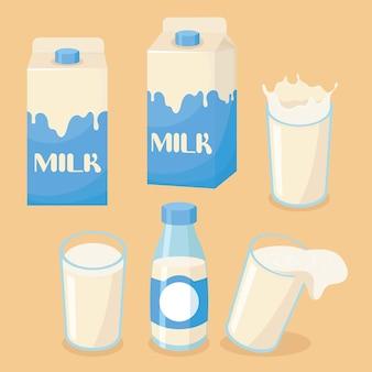 Illustrazione di latte su un vetro, una bottiglia e una scatola di imballaggio con latte versato