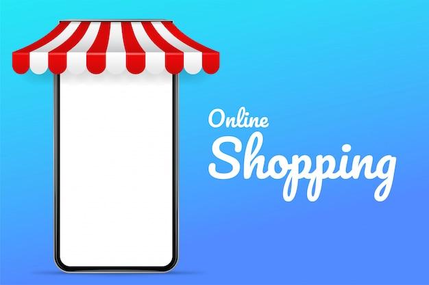 Illustrazione di un telefono cellulare con un tetto shopping online e vendita di prodotti online.