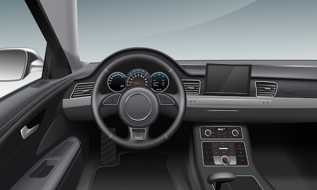Illustrazione degli interni di auto moderne con cruscotto scuro e ruota all'interno del salone