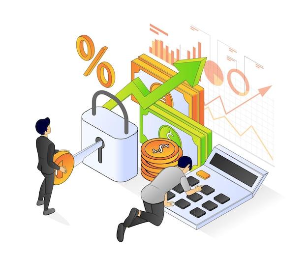 Illustrazione del moderno stile isometrico sulla società di contabilità e gestione