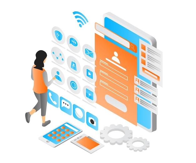Illustrazione dello stile isometrico moderno sulla progettazione dell'interfaccia utente e sul computer o sul cellulare dell'app
