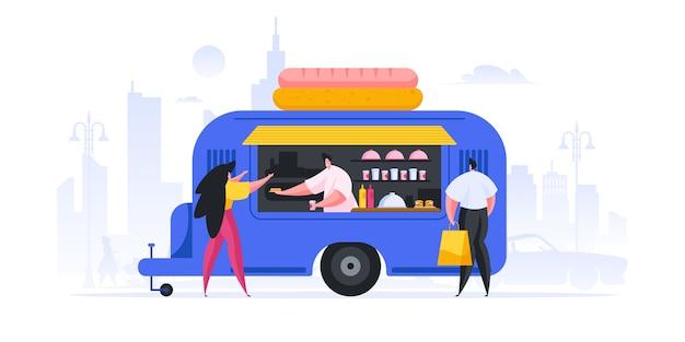 Illustrazione dell'uomo moderno e della donna l'acquisto di hot dog