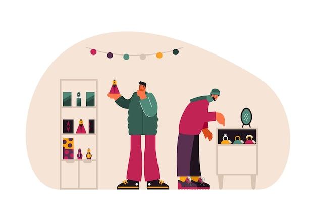 Illustrazione di uomini moderni che scelgono profumi aromatici e gioielli costosi durante l'acquisto di regali in negozio durante lo shopping natalizio