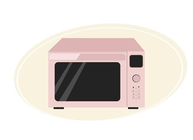Illustrazione di un moderno forno a microonde in un delicato colore rosa