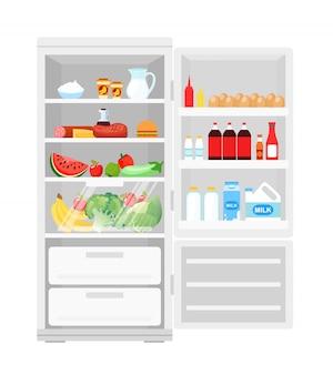 Illustrazione del moderno frigorifero aperto pieno di cibo. lotto di prodotti in frigo, frutta e verdura, latte e uova, cibo sano in stile piatto.