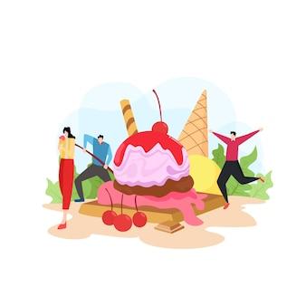 L'illustrazione della moderna con la gente mangia il gelato