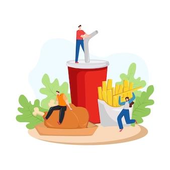 Illustrazione di moderno con persone pranzo delizioso fast food