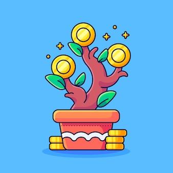 Illustrazione della crescita dei soldi di investimento in crescita dei soldi con il business di crescita della fabbrica di investimento delle monete d'oro e il concetto di icona finanziaria