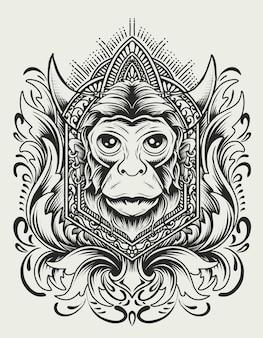 Illustrazione testa di scimmia con ornamento incisione