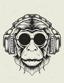 Illustrazione testa di scimmia con cuffie in stile monocrome