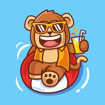 Illustrazione della scimmia che prende il sole sulla palla