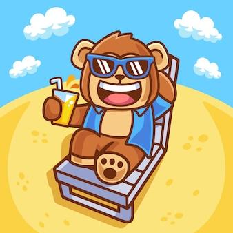 Illustrazione della scimmia che prende il sole sulla sedia
