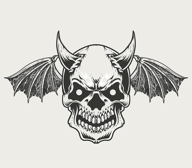 Illustrazione monocromatica teschio demone