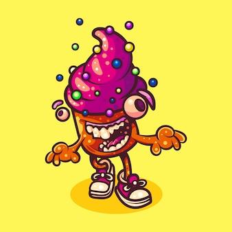 Illustrazione di torta monster adatto a t-shirt, adesivi e affari correlati