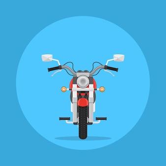 Illustrazione di una moto, vista frontale, illustrazione di stile piatto