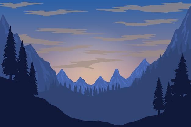 Illustrazione del paesaggio di montagna