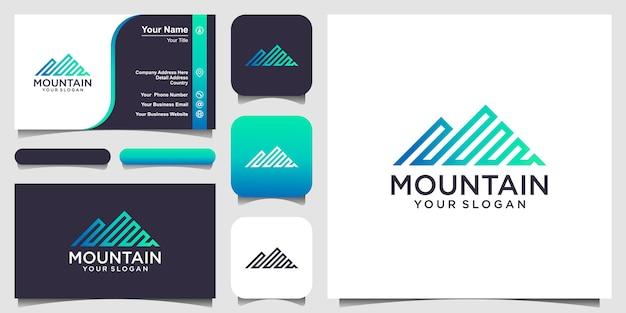 Illustrazione della montagna con logo in stile arte linea e design biglietto da visita