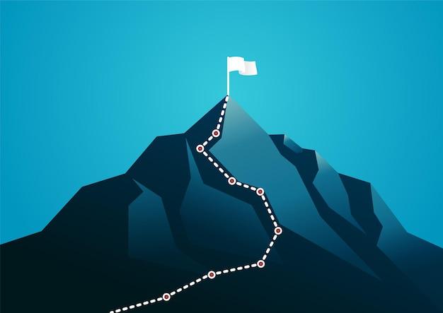 Illustrazione di una montagna con grafica percorso bianco. descrivere il percorso aziendale, la pianificazione e l'obiettivo.