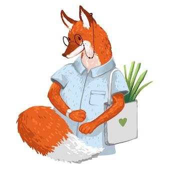 Illustrazione il signor fox con gli occhiali con un orologio in una maglietta e un sacchetto di verdure sta andando in un negozio per bambini