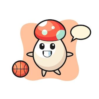 L'illustrazione del fumetto del fungo sta giocando a basket, un design carino in stile per maglietta, adesivo, elemento logo