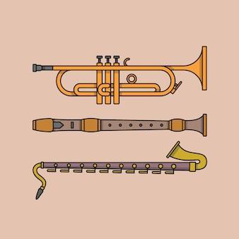 Illustrazione di strumento musicale. insieme dell'icona di contorno. tromba, flauto, clarinetto.
