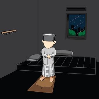 Illustrazione di un bambino musulmano nella sua stanza, a mezzanotte