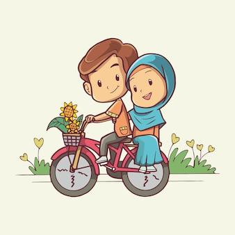 Illustrazione di una coppia musulmana in sella a una bicicletta arte disegnata a mano