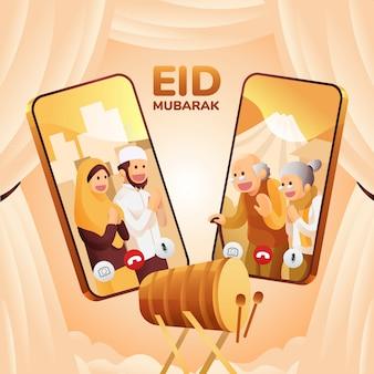L'illustrazione della gente musulmana comunica online tramite la videochiamata di smartphone in eid mubarak