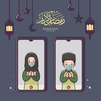 Illustrazione di persone musulmane comunicano online tramite videochiamata con smartphone in ramadan kareem ed eid mubarak