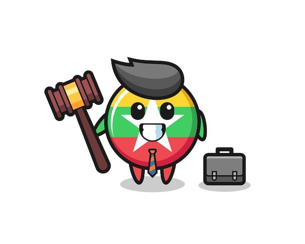 Illustrazione della mascotte del distintivo della bandiera del myanmar come avvocato, design carino