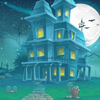 Illustrazione di una misteriosa casa infestata in una notte di luna