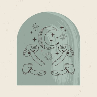 Illustrazione di loghi mistici ed esoterici in uno stile lineare minimal alla moda. emblemi in stile boho - luna, luna, funghi