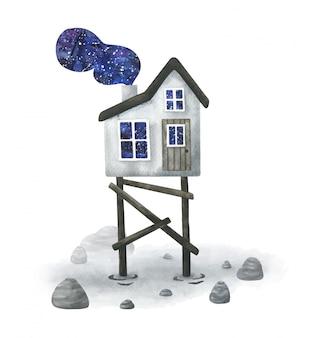 Illustrazione di una casa mistica su una palude con magico fumo cosmico.