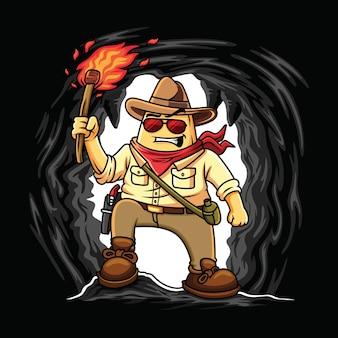 Illustrazione di nacho cartoon esplorando una grotta con un'espressione coraggiosa