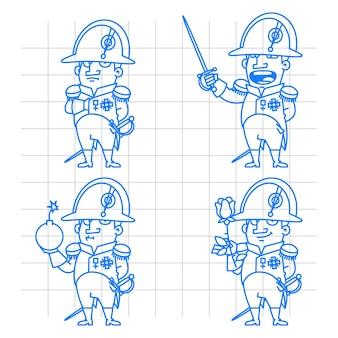 Illustrazione, personaggio di napoleone bonaparte in varie pose doodle, formato eps 10