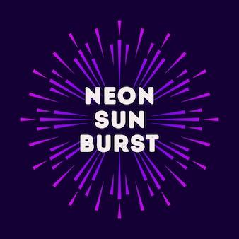 Illustrazione al neon sunburst stile colorato