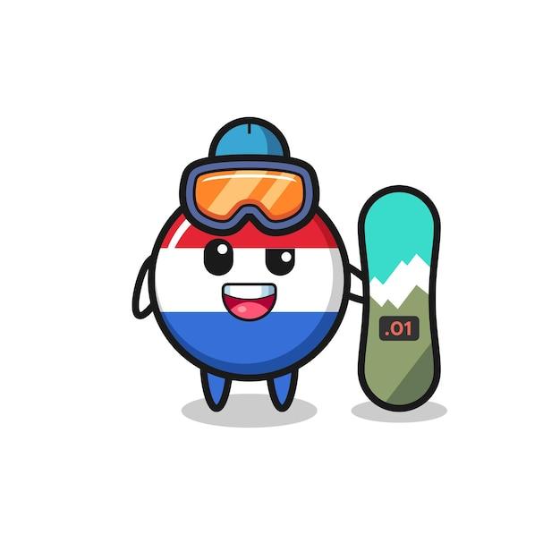 Illustrazione del carattere distintivo della bandiera dei paesi bassi con stile snowboard, design in stile carino per maglietta, adesivo, elemento logo