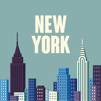 Illustration.new york usa skyline e punti di riferimento silhouette Vettore Premium